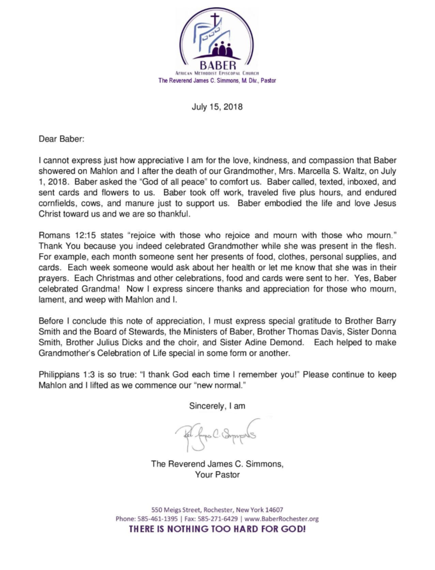 Thank You Letter from Pastor | Baber AME Church